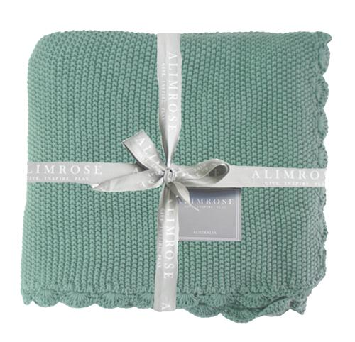Knit Mini Moss Stitch Blanket - Sage - Alimrose