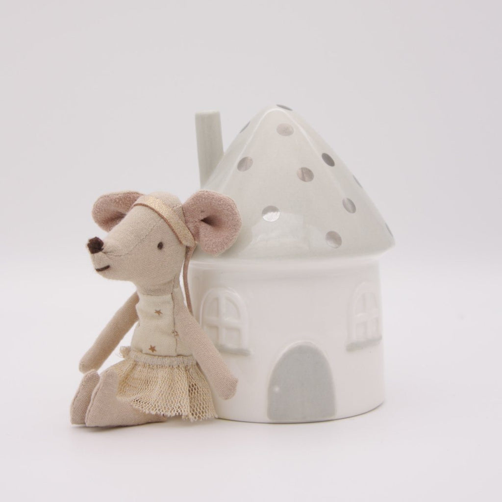 Elfin House Moneybox - Grey & Silver - Little Belle