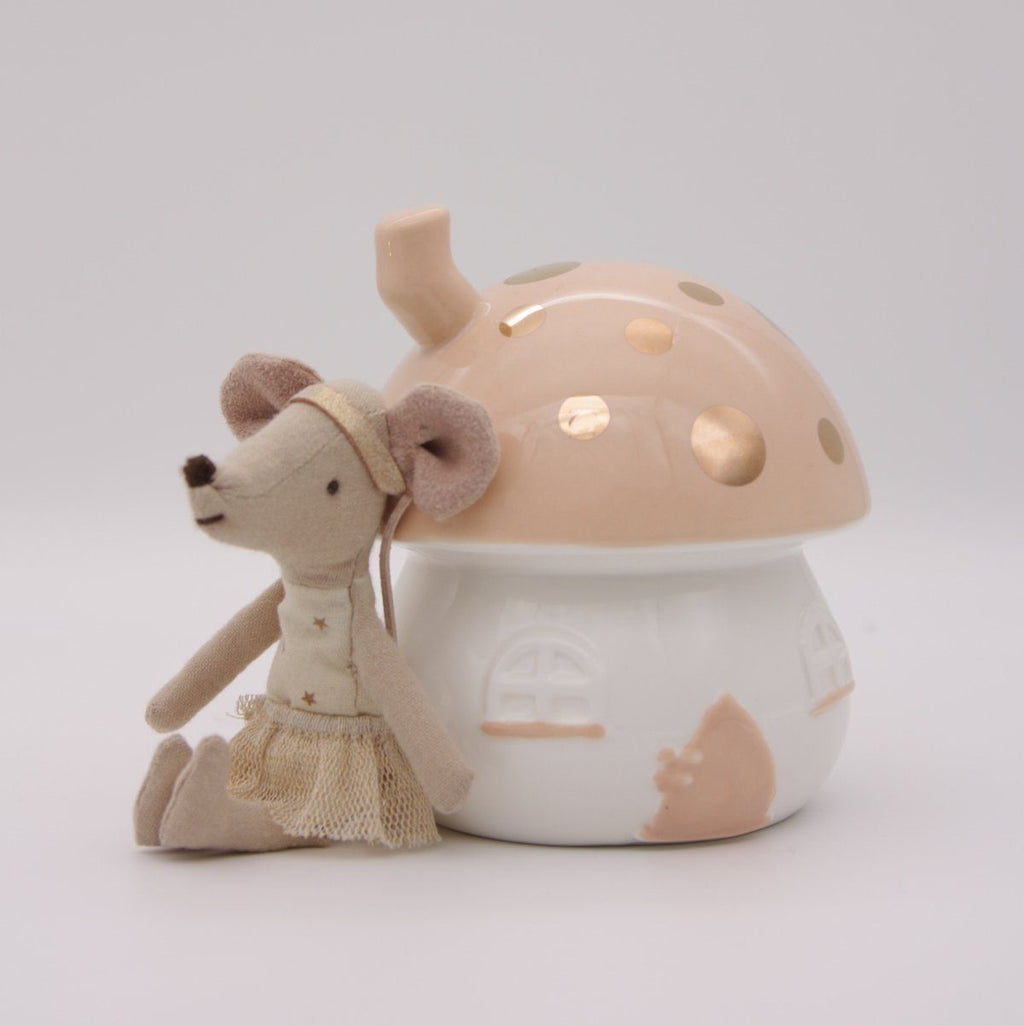 Fairy House Money Box - Peach & Gold - Little Belle
