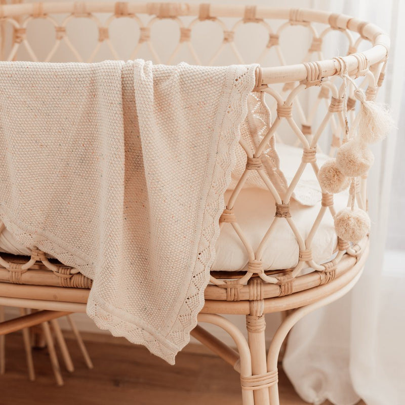 Oatmeal Fleck Heirloom Knit Blanket - Ziggy Lou