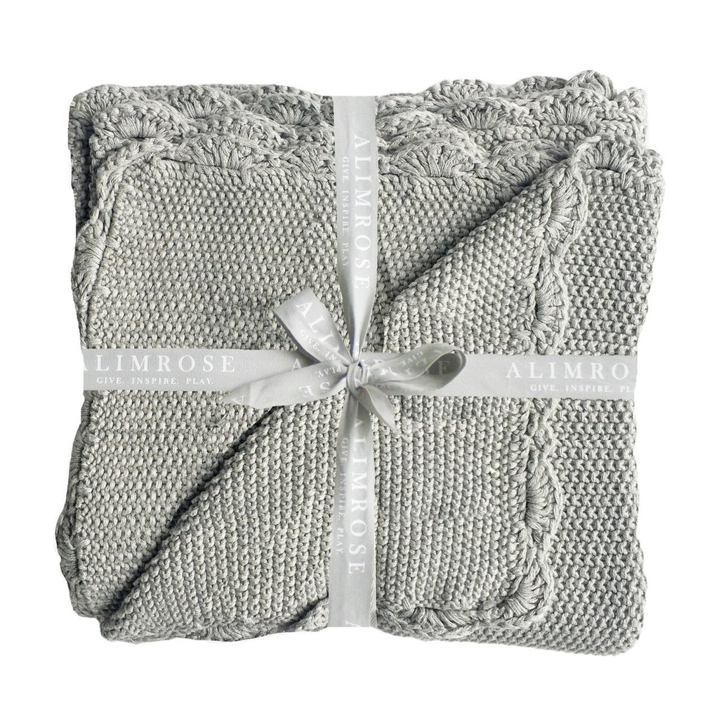 Knit Mini Moss Stitch Blanket - Grey - Alimrose