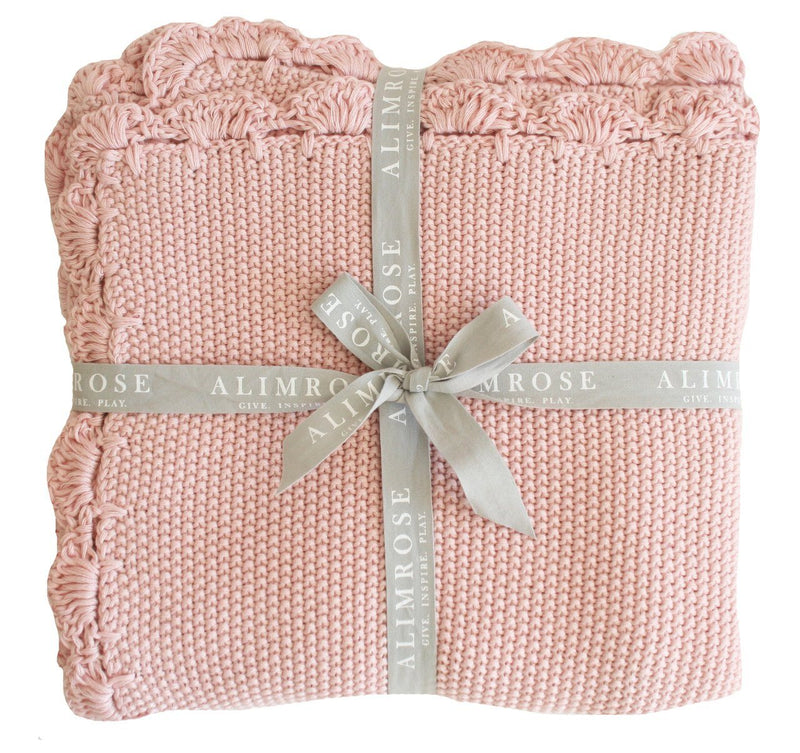 Knit Mini Moss Stitch Blanket - Pink - Alimrose