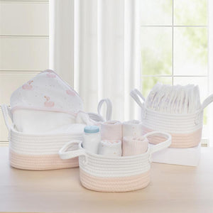 3 piece Storage Baskets - Blush/White - Living Textiles