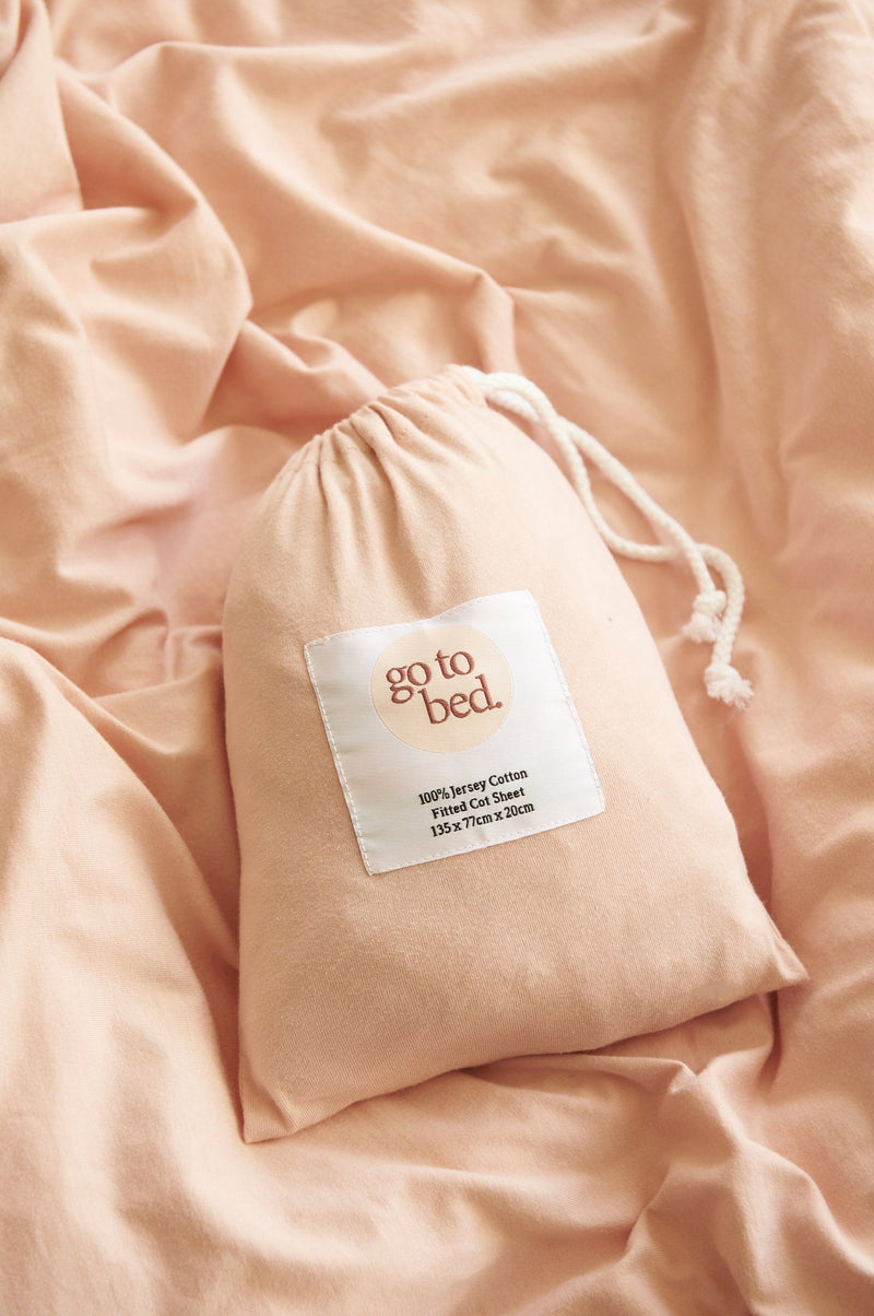 Pink- Fitted Cot Sheet - Go to Bed