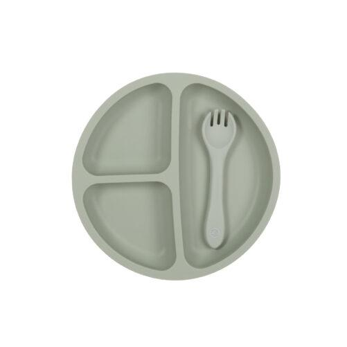 Sage Suction Plate & Spoon/Fork Set - My Little Giggles