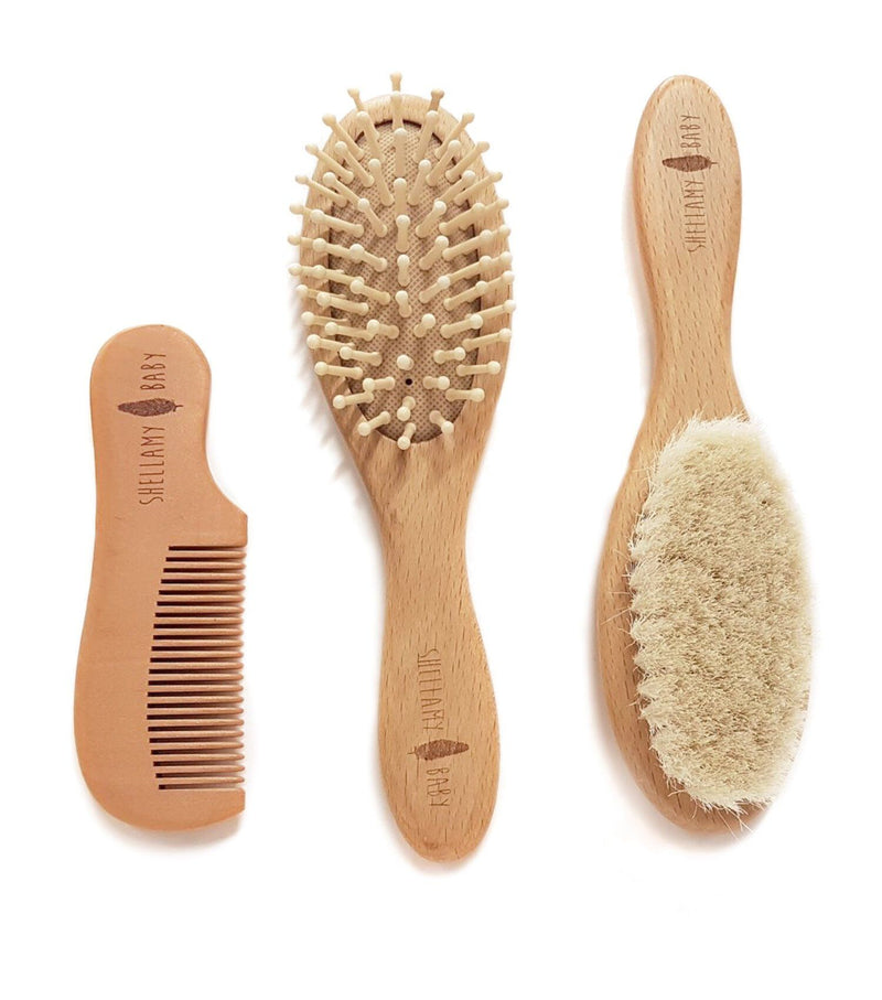 3 Piece Wooden Baby Hairbrush and Comb Set - Shellamy Baby