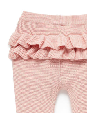 Ruffle Knit Leggings - Pink - Pure Baby