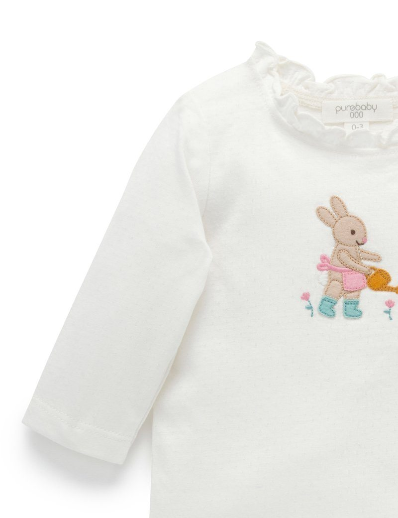 Planting Bunny Tee Top - Pure Baby