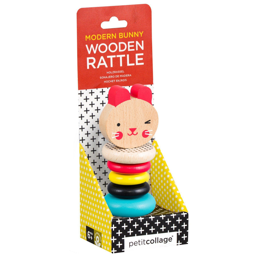 Bunny Wooden rattle toy - Petit College