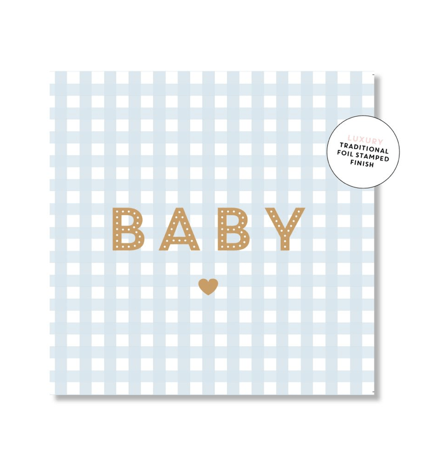 Mini Card -Gingham Baby blue- Just Smitten