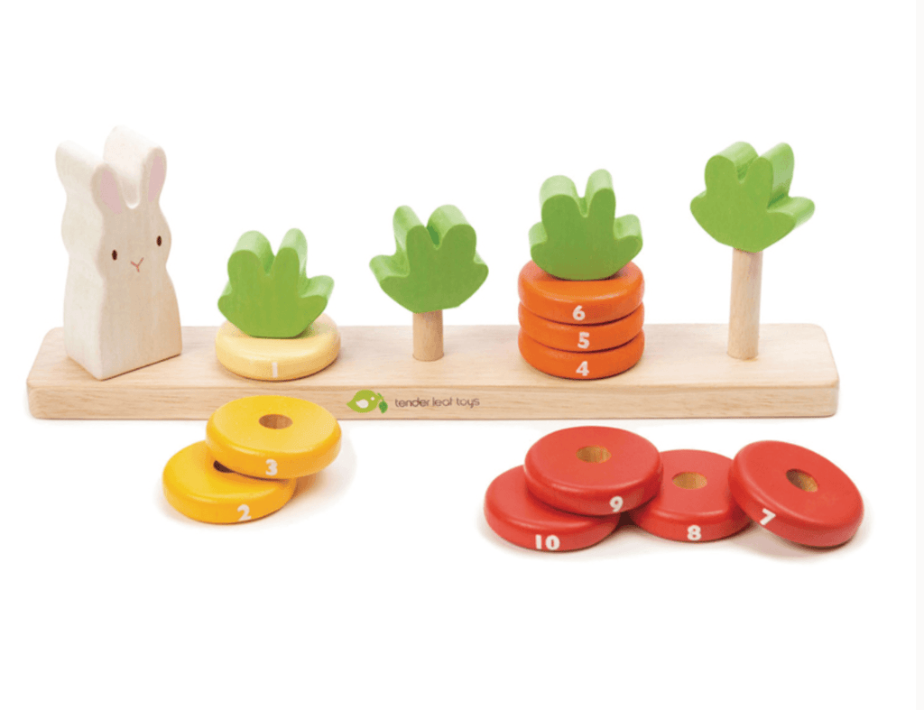 Counting Carrots- Wooden stacker - Tender Leaf Toys