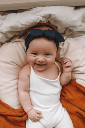 Navy Topknot Headband Bow - Snuggle Hunny Kids