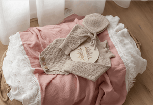 Dusty Pink Swaddle with Cream Fringe - Ziggy Lou