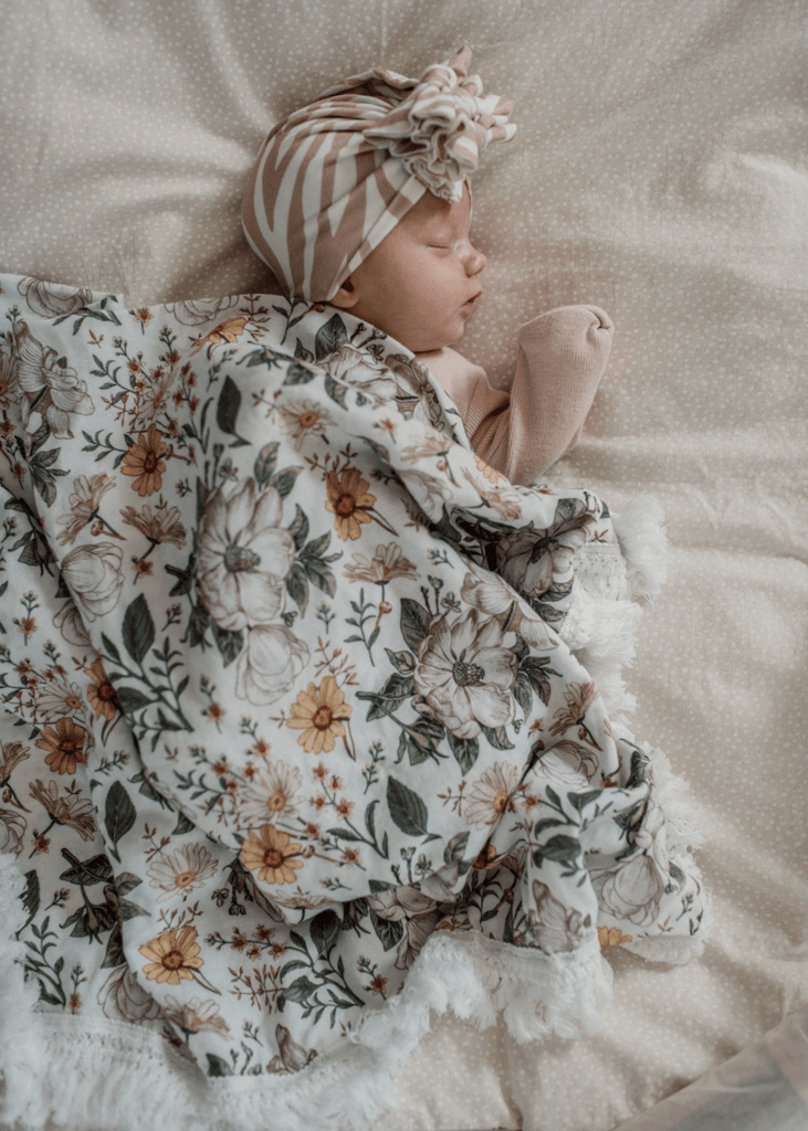Mustard Floral Swaddle with Cream Fringe - Ziggy Lou