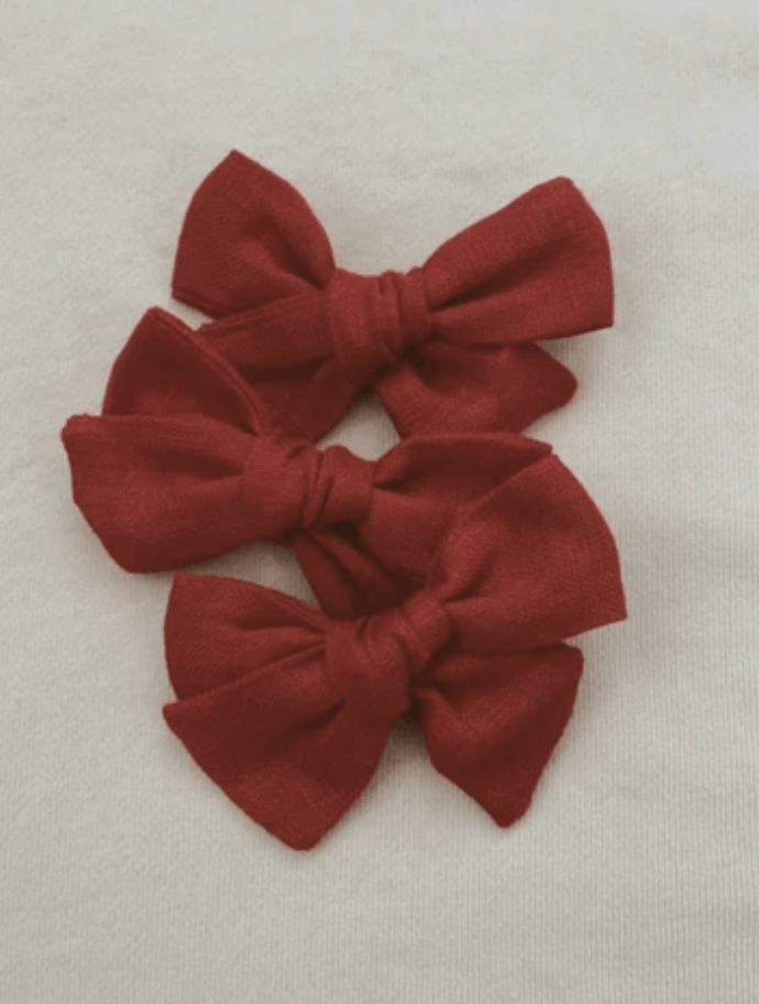 Red Linen Bow - Mae & Rae