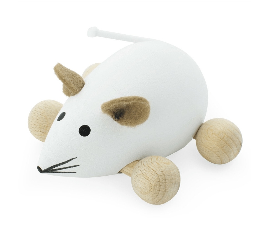 Wooden Push Along Mouse-Snowflake- Happy Go Ducky