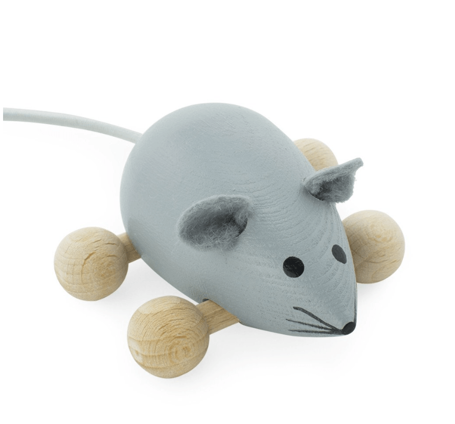 Wooden Push Along Mouse-Dusty- Happy Go Ducky