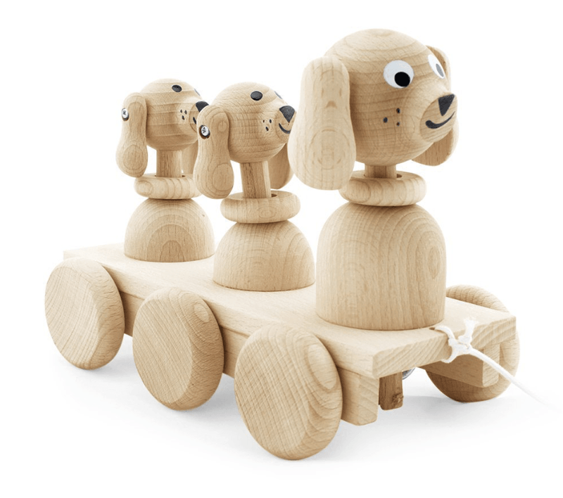Wooden Pull Along Dog Family - Happy Go Ducky