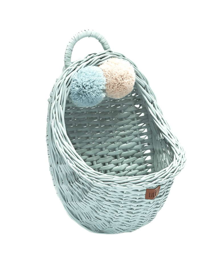 Wicker Wall Basket - Mint- Happy Go Ducky