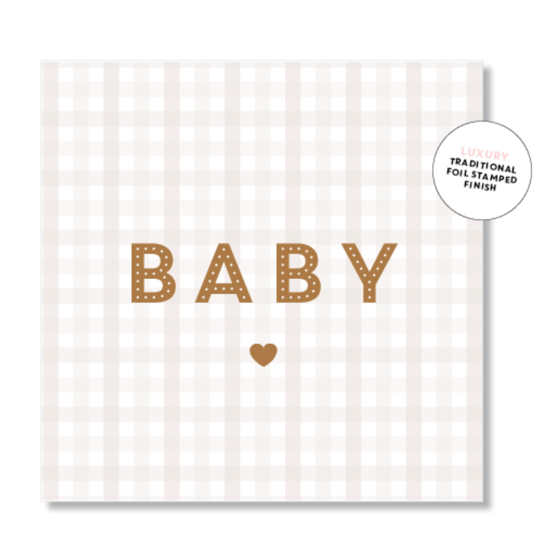 Mini Card -Baby Gingham Beige- Just Smitten