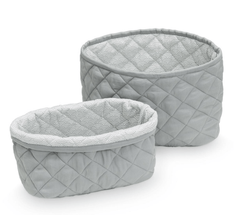 Quilted Storage basket - Grey- set of 2 -CAM CAM
