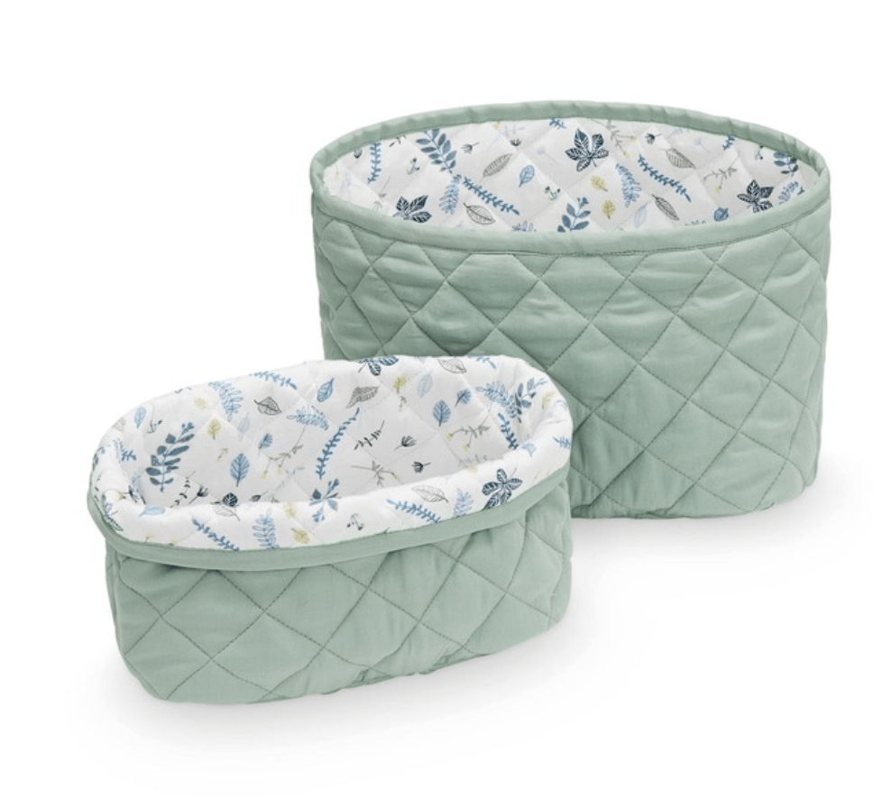 Quilted Storage basket - Misty Green- set of 2 -CAM CAM