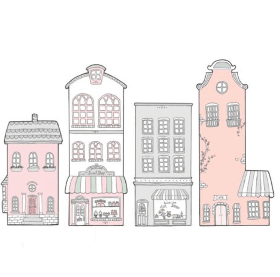Little Town Pink- Fabric Wall Stickers - Sailah Lane