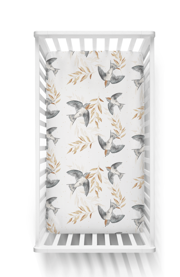 Swallow- fitted cot sheet - Piper Bug