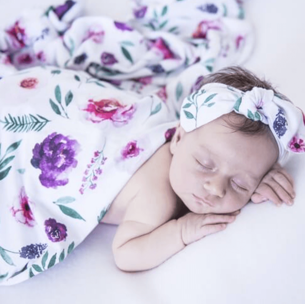 Peony Bloom - Jersey Wrap & Bow Set - Snuggle Hunny Kids