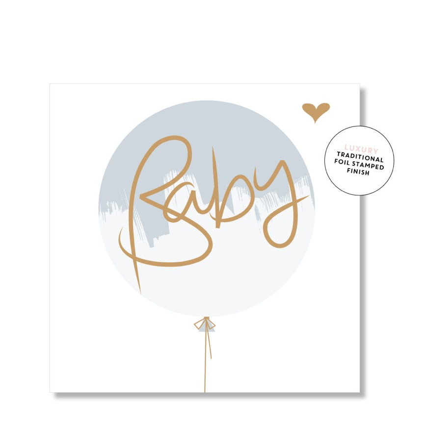 Mini Card -Baby Blue Balloon - Just Smitten