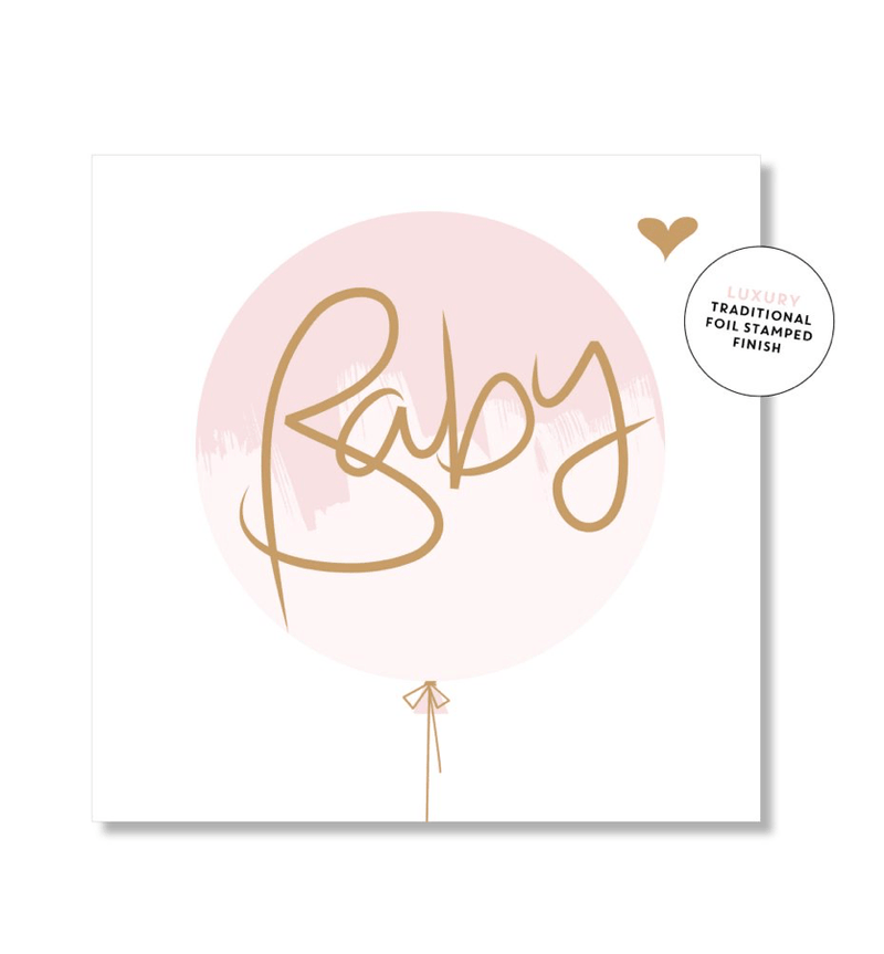 Mini Card -Baby Pink Balloon - Just Smitten