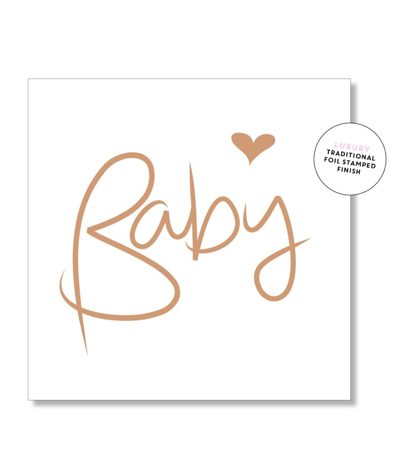 Mini Card -Baby Script Gold- Just Smitten