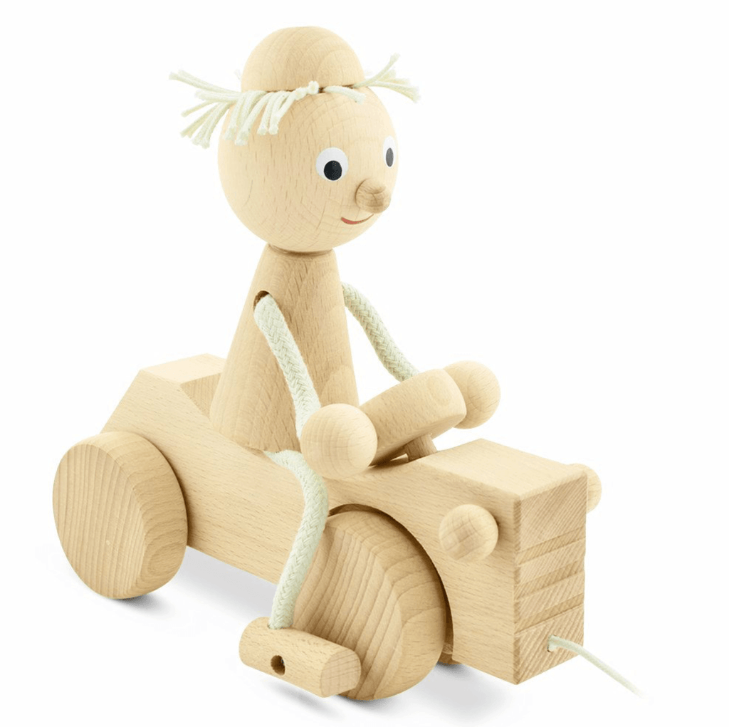 Wooden Pull along boy with tractor - Happy Go Ducky