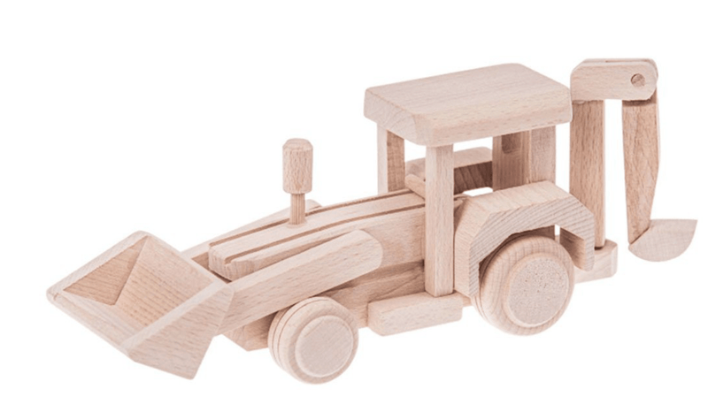 Wooden backhoe loader - Theo - Happy Go Ducky