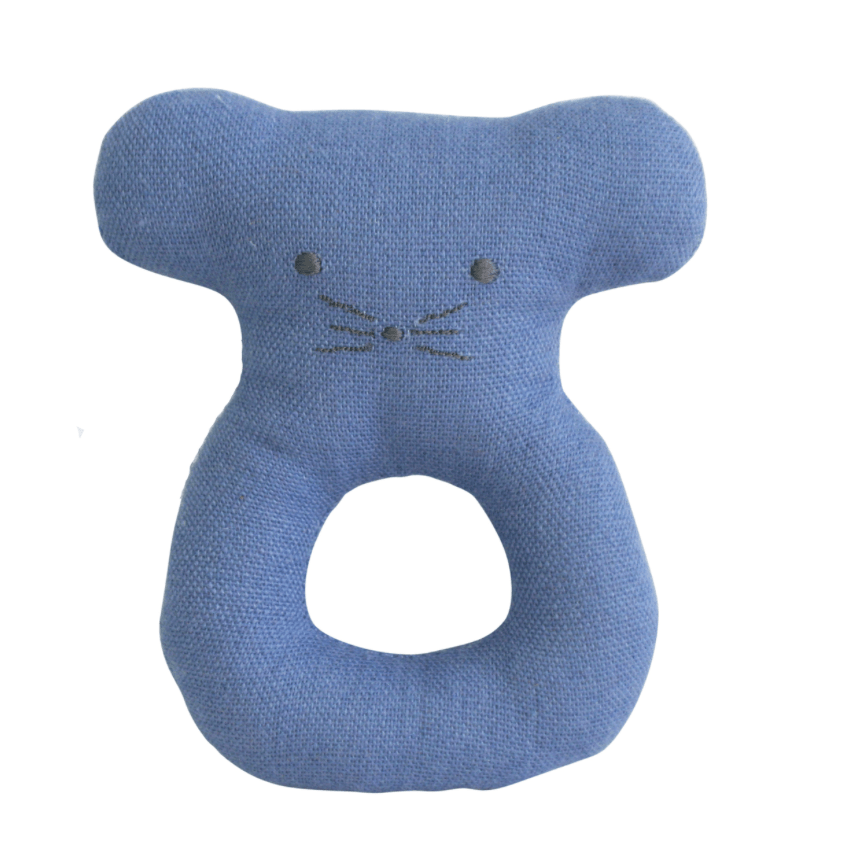 Mouse Ring Rattle- Chambray - Alimrose
