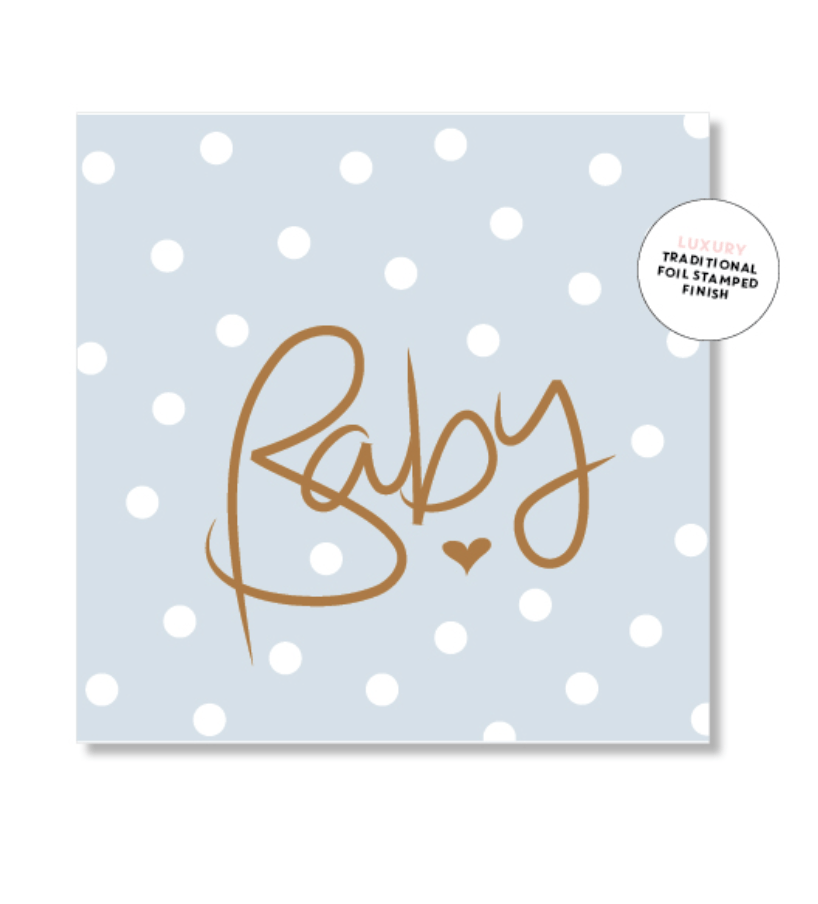 Mini Card -Polkadot blue baby - Just Smitten