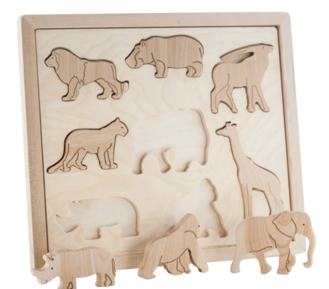 Wooden Sorting Puzzle - Animals of Africa - Happy Go Ducky