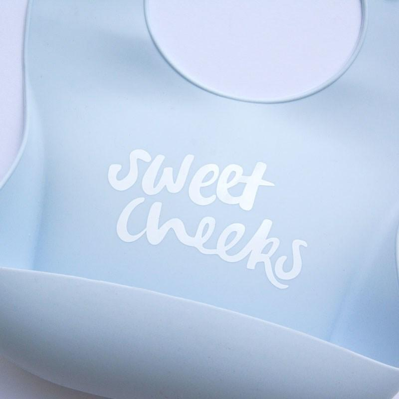 Silicone Bib - Sweet Cheeks duck egg - The Somewhere Co