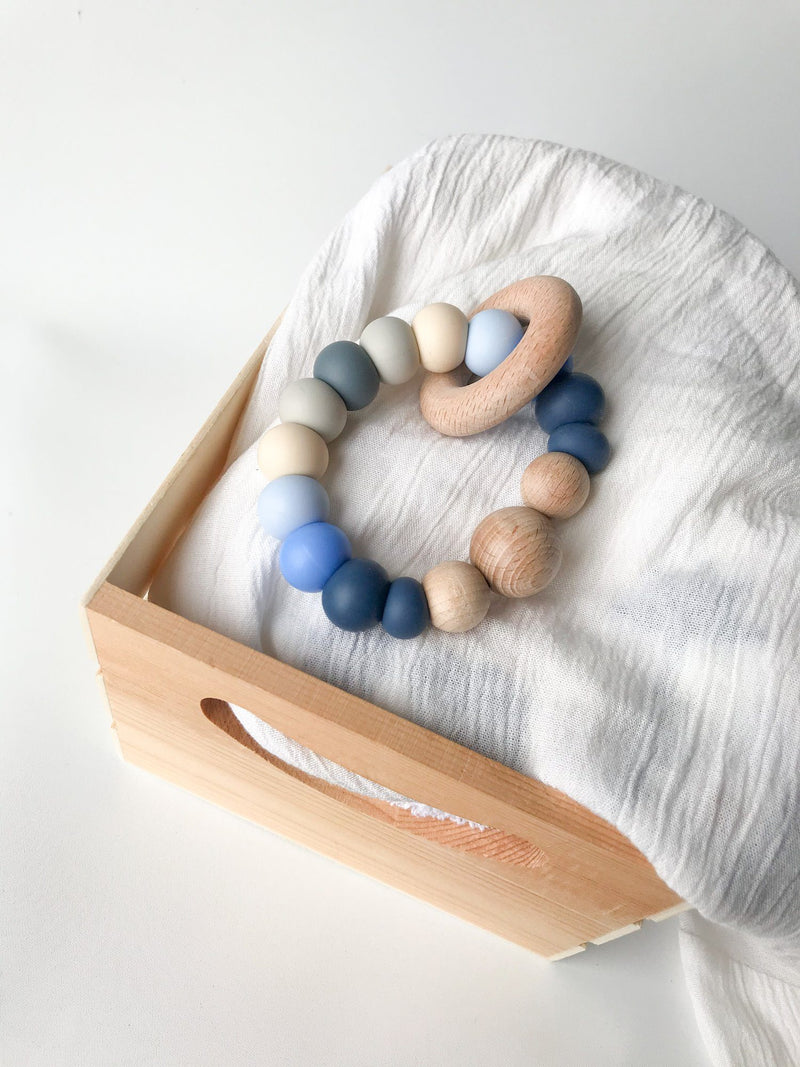 Sunset Mini Rattle Silicone Teether - Blue - Indera Beads