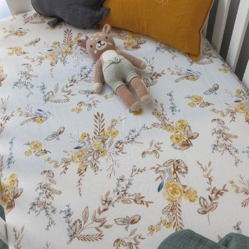 Vintage Brown Floral Bassinet Sheet / Change Mat Cover - Savannah and Three