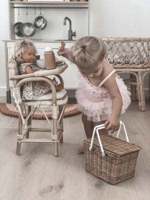 Rattan Doll's Highchair - Tiny Harlow