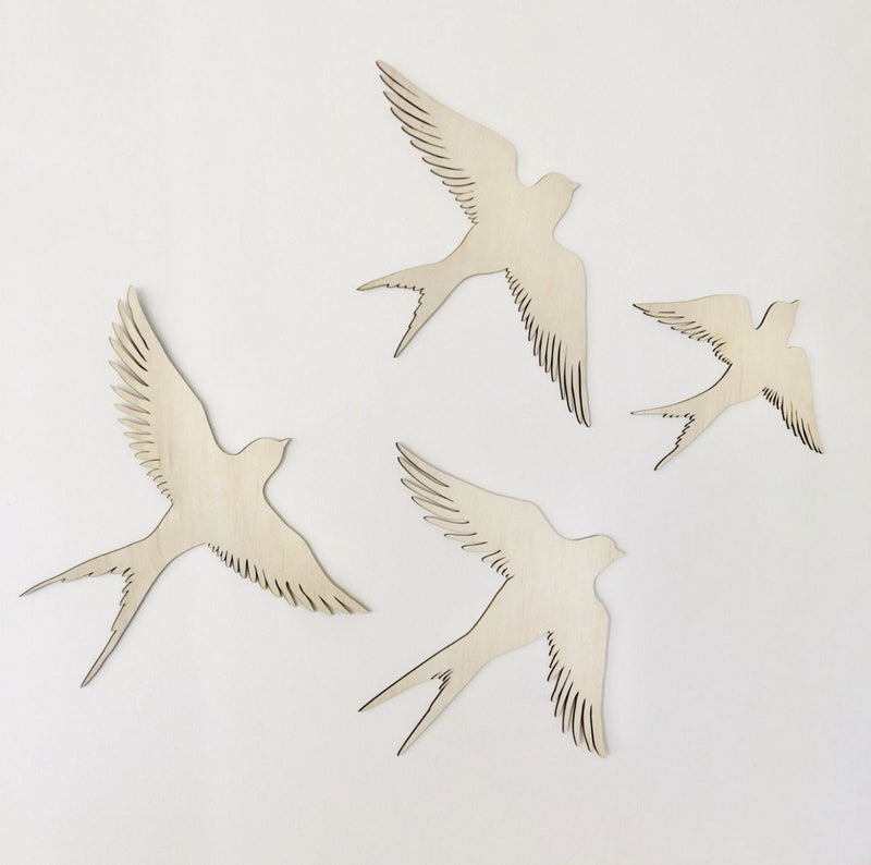Wooden Swallows Set of 4 - Timber Tinkers