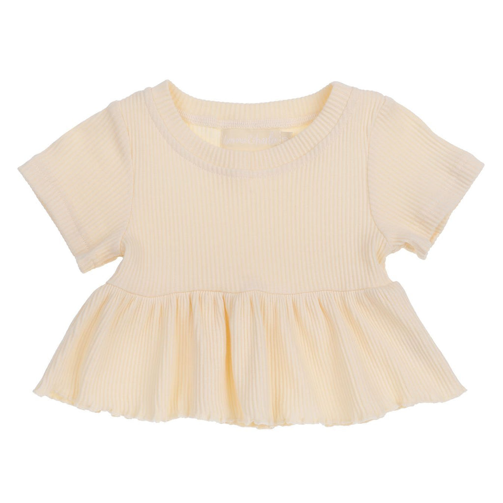 Ribbed peplum top - Sunshine - Bonnie & Harlo- PRE ORDER DUE MID OCTOBER