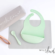 Go! Travel set Bib | Spoon | Placemat- Sage - Wild Indiana