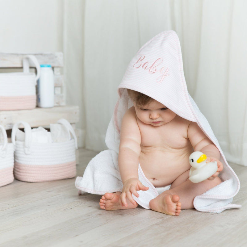 Hooded Baby Towel - Blush Stripe - Living Textiles