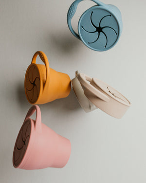 Collapsible Silicone Snackie Cup - Blush Pink - Poppy Penny