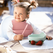 Go! Travel set Bib | Spoon | Placemat- Dusty Rose - Wild Indiana