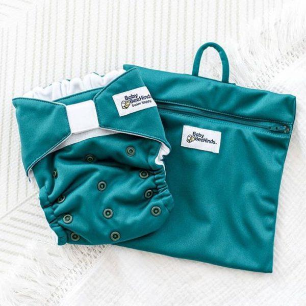 Reusable Swim Nappy -Sea Green-  Baby Beehinds