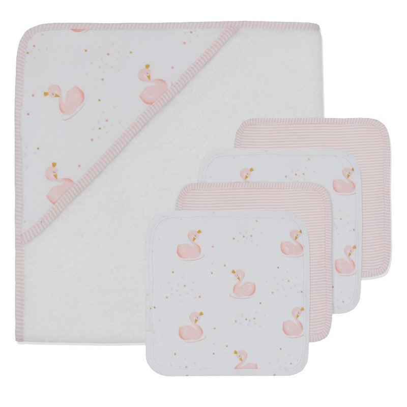 5 piece Bath Gift Set - Towel & Washcloths - Swans - Living Textiles