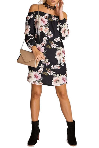 Floral Off The Shoulder Evening T Shirt Dress - The Celebrity Fashion